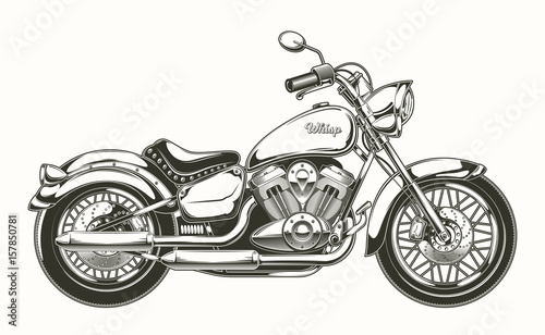 Fényképezés Vector illustration of hand-drawn vintage motorcycle