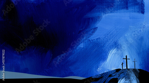 Leinwand Poster Graphic abstract background Calvary crosses blue