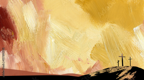 Foto Graphic abstract background Calvary crosses yellow