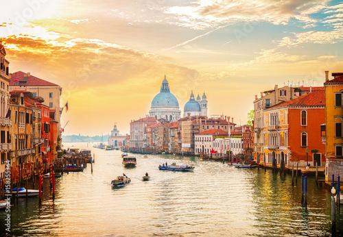 Fotografija Grand canal and Basilica Santa Maria della Salute, Venice in sunrise light, Ital