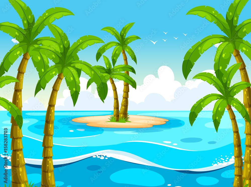 Scena z drzewami na wyspie <span>plik: #158283703 | autor: GraphicsRF</span>