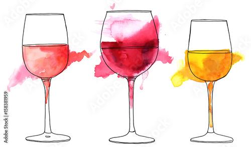 Fotografia, Obraz Set of vector and watercolor drawings of wine glasses
