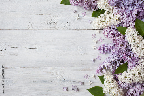 Canvas-taulu A wooden background with flowering lilac branches