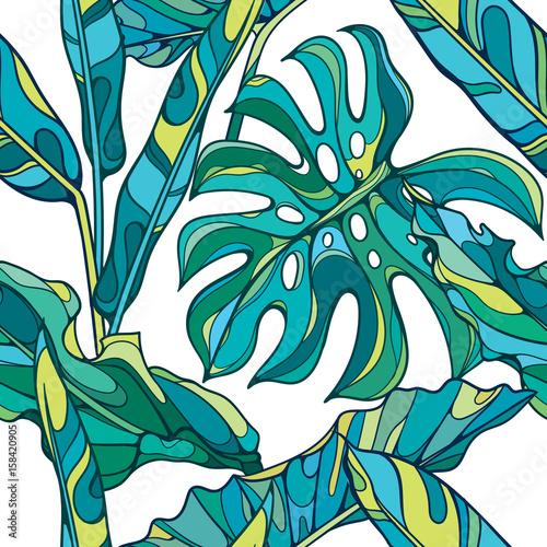 Kolorowy bezszwowy wektorowy tropikalny wzór