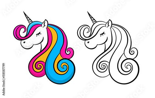 Wallpaper Mural Vector cute unicorn  icon isolated, cartoon, illustration