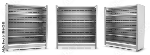 Fotografia Open refrigerated display case with shelves