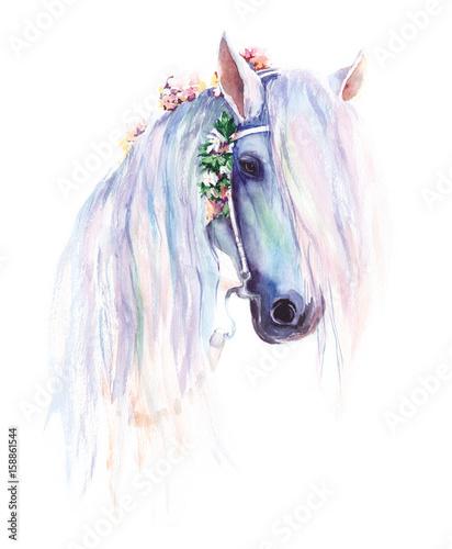Błękitny koń z kwiatami w grzywie. Oryginalny akwarelowy obraz.