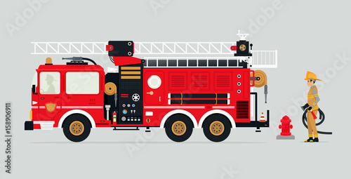 Obraz na plátne Fire trucks with firefighters and fire fighting equipment.