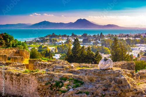 Fototapeta View from hill Byrsa with ancient remains of Carthage and landscape