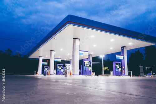 Gas station at night time Fototapeta