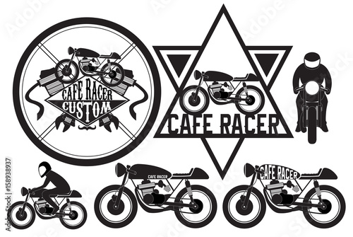 Fotografia cafe racer motorcycle logo design element vector illustration