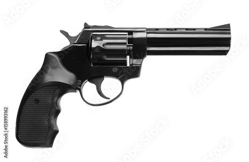 Obraz na plátně Black pistol revolver isolated on white