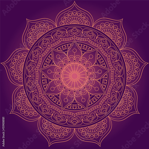 Αφίσα Mandala, square background design, lace ornament in oriental style