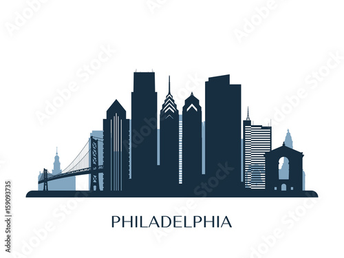 Fototapeta Philadelphia skyline, monochrome color. Vector illustration.