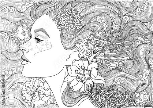 Photo Vector beautiful sea goddess, mermaid, girl among flowering algae, coloring