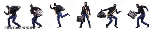 Fotografiet Burglar wearing balaclava isolated on white