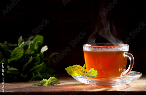 Canvas Print cup of tea with mint
