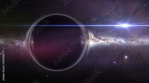 Fotografia, Obraz black hole with gravitational lens effect and the Milky Way galaxy