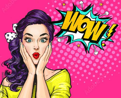 Fototapeta Pop Art illustration, surprised girl