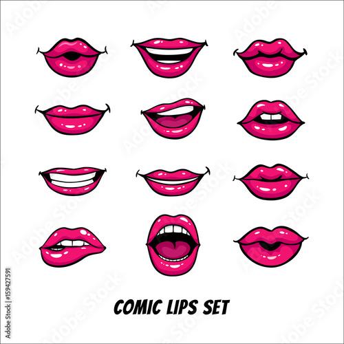 Fotografia Comic female lips set