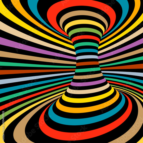 Colorful vector op art pattern. Optical illusion abstract background