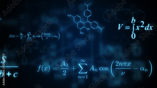 Photo Glowing mathematical, physical and chemical formulas