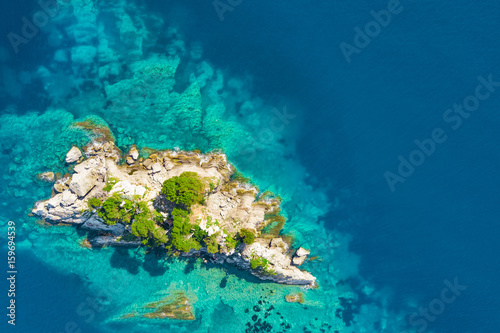 Top view of the island with green plants