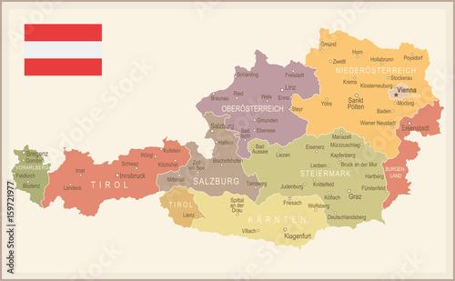 Photo Austria - vintage map and flag - illustration