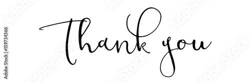 Canvastavla Thank you - black typography on white backround