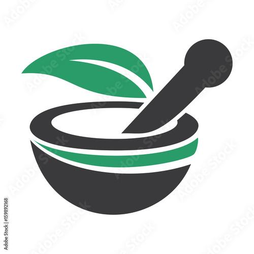 Obraz na płótnie Pharmacy medical logo. Natural mortar and pestle logo.