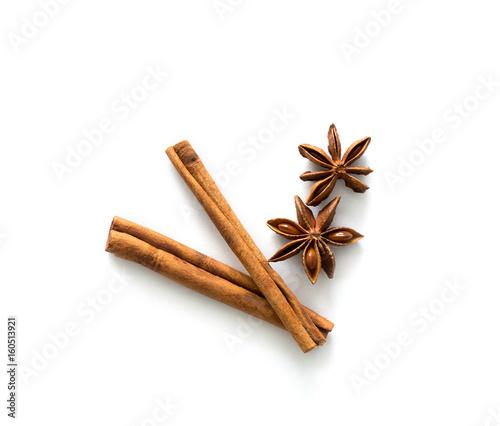 Valokuva Two cinnamon sticks lying on table, topview
