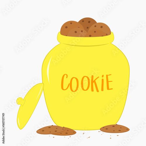 cookies inside a big yellow cookie jar vector, in white background Fototapeta