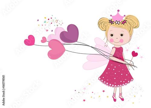 Cute fairy girl holding heart balloon. Happy valentine's day