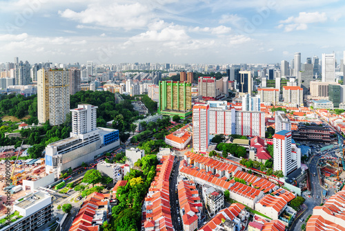 Top view of old townhouses and dormitory area of Singapore