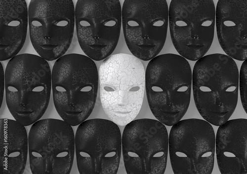 Fotografia Smiling white mask among black masks, Hypocritical concept, 3d rendering