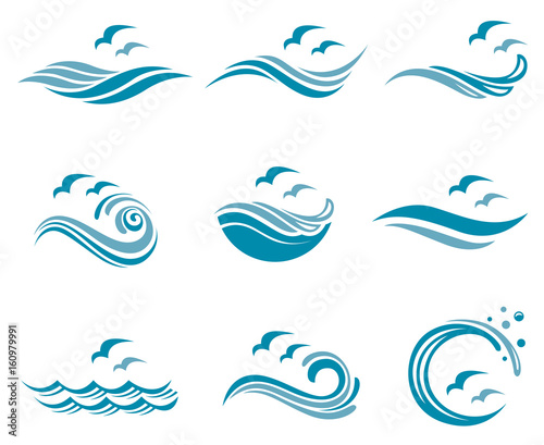 Fotografie, Obraz collection of ocean logo with waves and seagulls