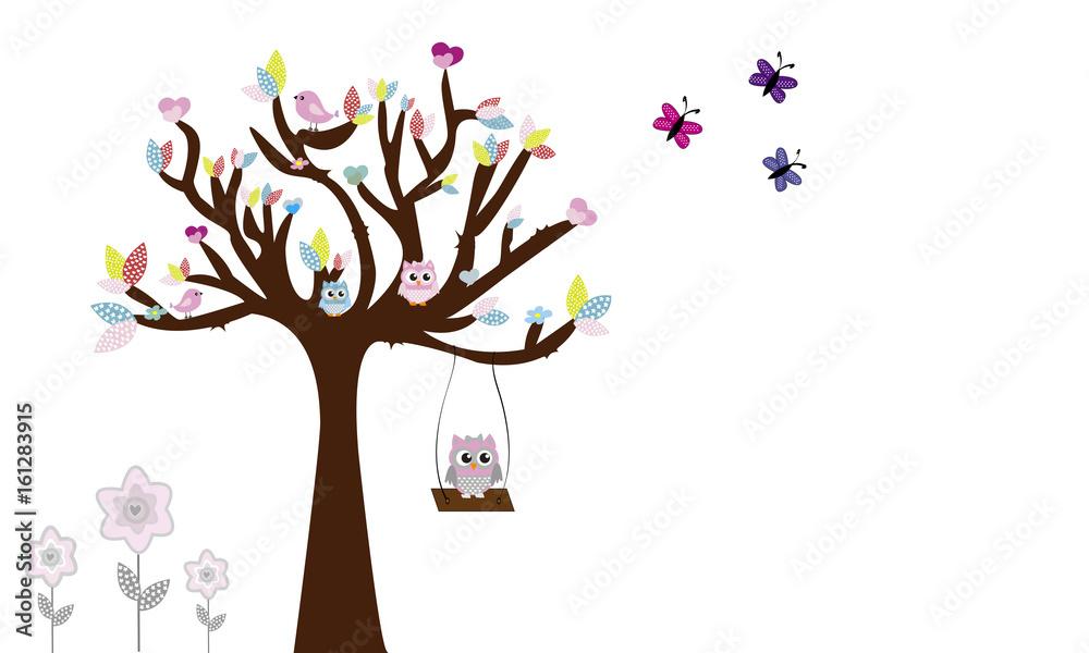 Drzewo z sowami i huśtawka 6. <span>plik: #161283915 | autor: Lola Fdez. Nogales</span>