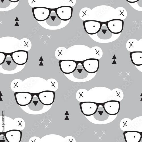 seamless teddy bear pattern vector illustration