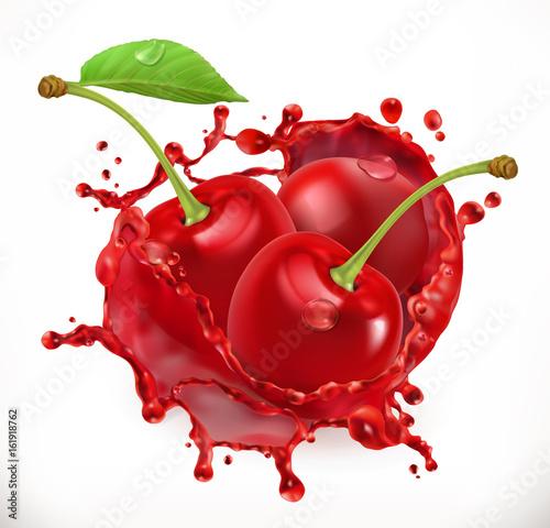 Canvas-taulu Cherry juice. Fresh fruit, 3d vector icon