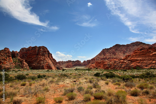 Photo Arid landscape and red rocks of Snow Canyon State Park Utah