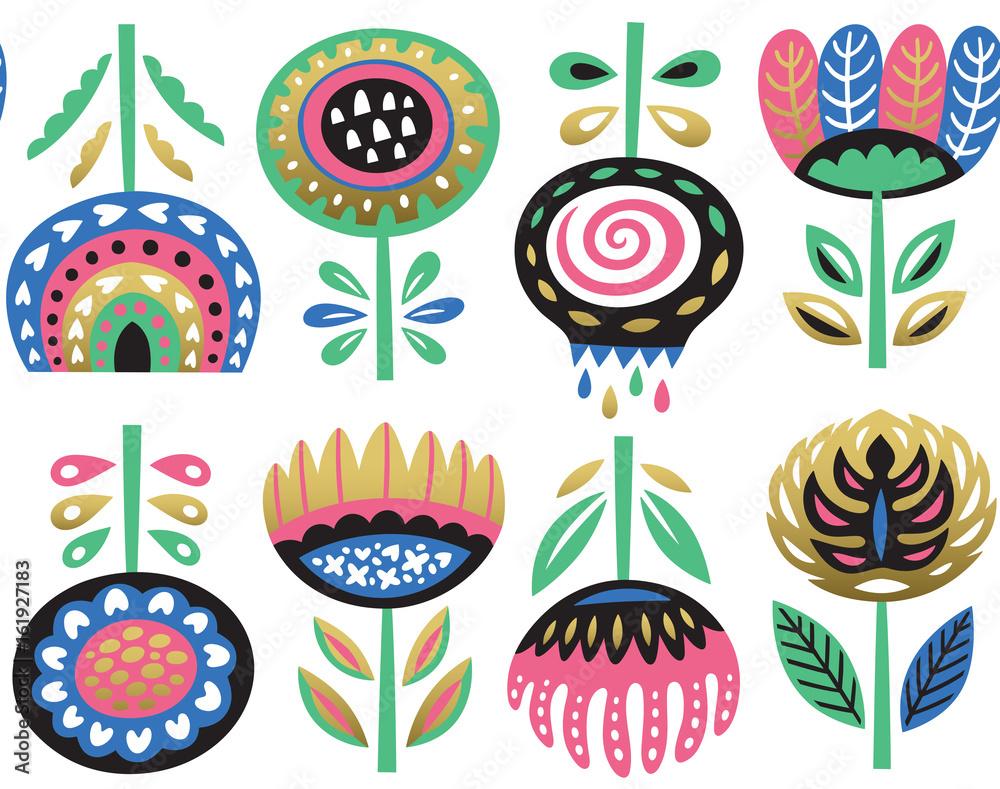 Flower art print in scandinavian style. Vector seamless pattern <span>plik: #161927183 | autor: penguin_house</span>