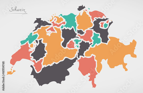 Canvas Print Switzerland Map with states and modern round shapes