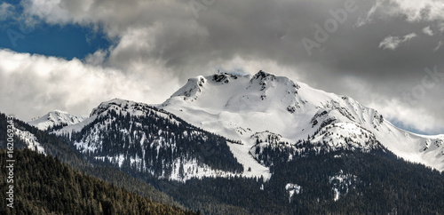 The peak of Whistler Mountain in winter
