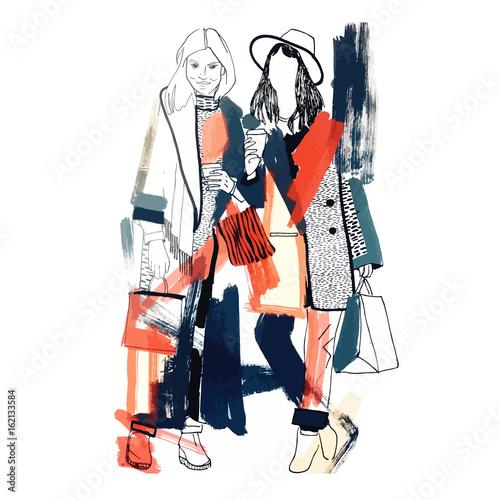 Fashion models. Sketch. Handdrawn Fashion illustration.