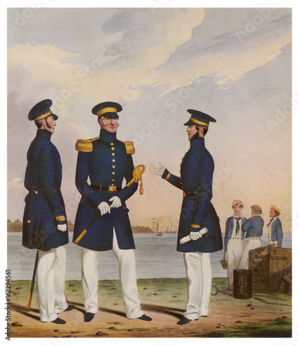 Canvas Print 19th century Naval Officers. Date: 1830
