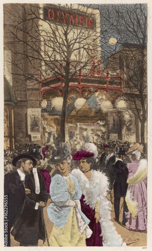 Billede på lærred Paris Night - Olympia - 19th century. Date: circa 1890