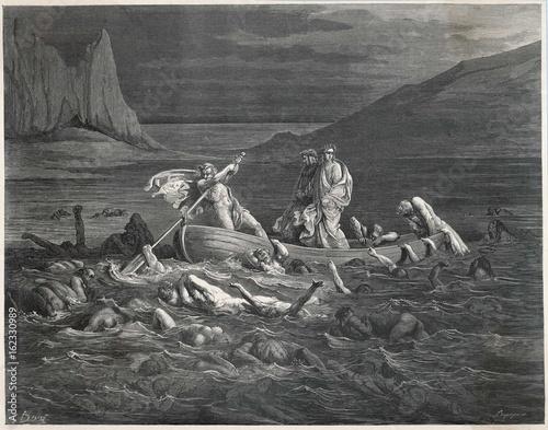 Obraz na płótnie Dante - Virgil Cross Styx. Date: 1307-21
