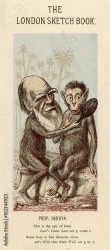 Photo Charles Darwin with a lookalike ape. Date: 1874