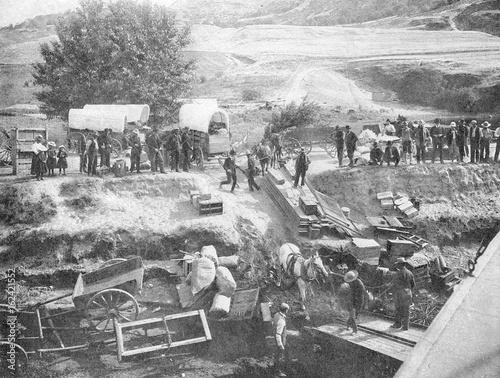 American settlers cross the Oregon region. Date: 1900 Fototapet