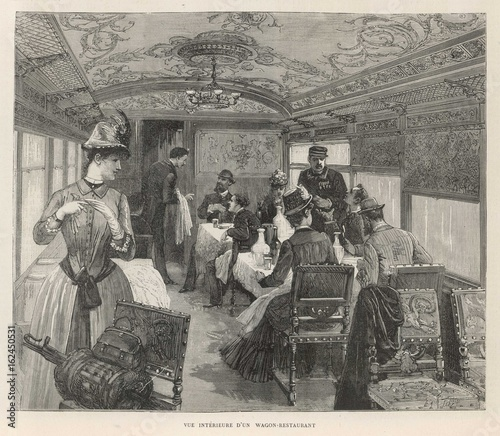 Photo Orient Express - Dining car. Date: 1884
